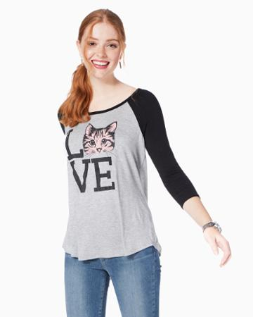 Charming Charlie Love Cats Ringer Tee