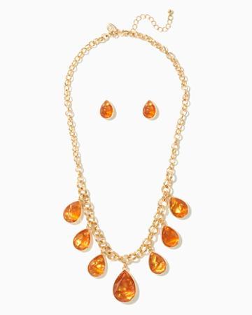 Charming Charlie Shaky Teardrop Necklace Set