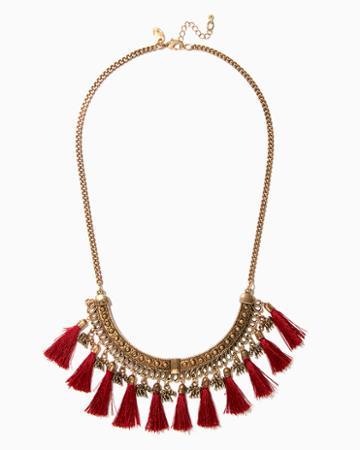 Charming Charlie Elephant Tassel Bib Necklace