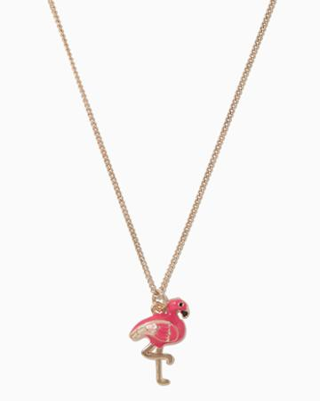Charming Charlie Flamingo Enamel Pendant Necklace