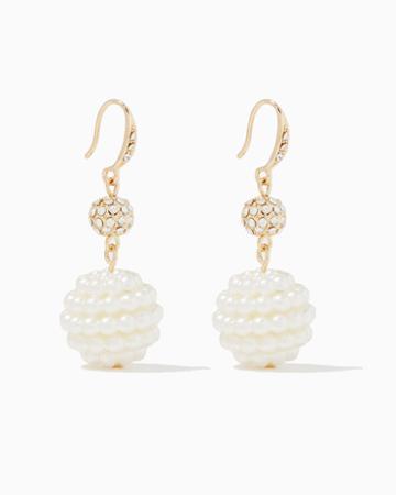 Charming Charlie Pearl Fireball Drop Earrings