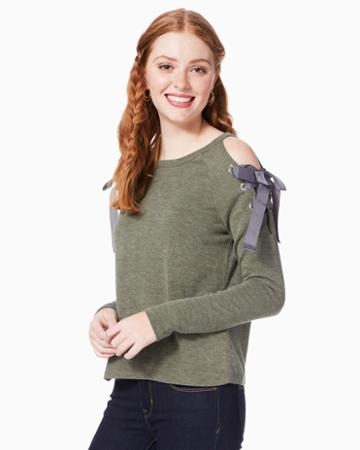 Charming Charlie Tessa Lace-up Sleeve Sweater