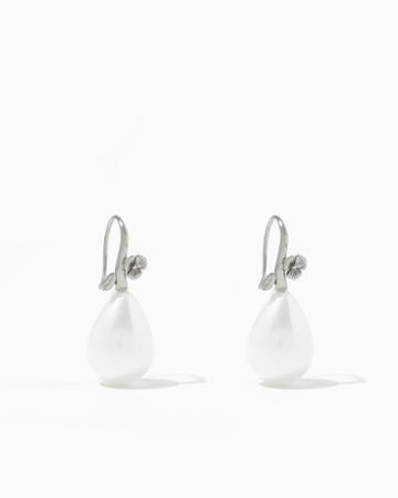 Charming Charlie Flower Pearl Teardrop Earrings