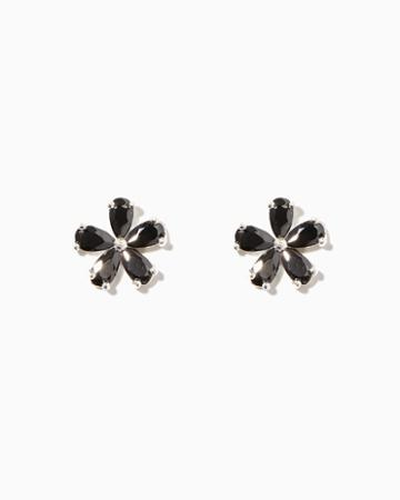 Charming Charlie Sterling Silver Cz Flower Earrings