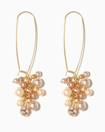 Charming Charlie Pearl Cluster Wire Earrings