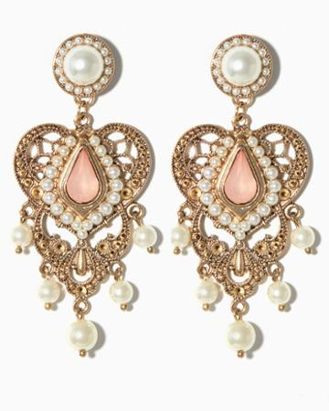 Charming Charlie Lovely Hearts Pearl Statement Earrings