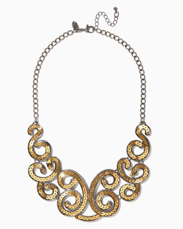 Charming Charlie Swirling Sequin Collar Necklace