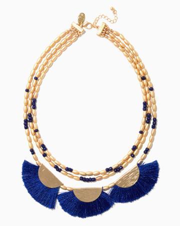 Charming Charlie Fan Fringe Bib Necklace