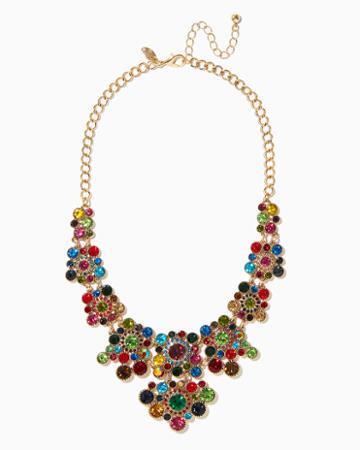 Charming Charlie Flower Gem Bib Necklace