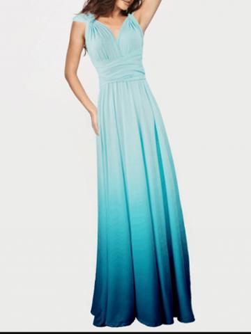 Choies Light Blue Dip Dye V-neck Open Back Women Cami Maxi Dress