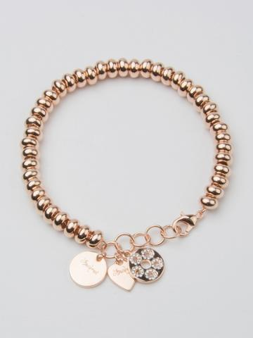 Choies Rose Gold Crystal Embellished Heart Charm Ball Chain Bracelet