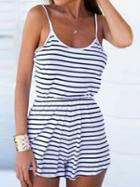 Choies Monochrome Stripe Spaghetti Strap Backless Romper Playsuit