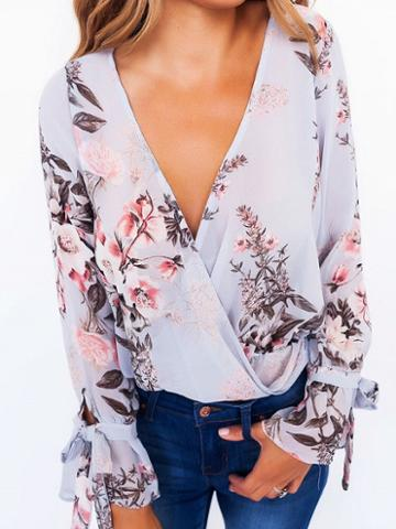 Choies Polychrome V-neck Floral Print Tie Cuff Long Sleeve Blouse