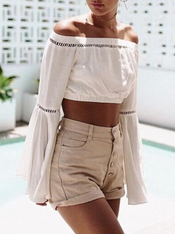 Choies White Off Shoulder Cut Out Detail Flared Sleeve Crop Top