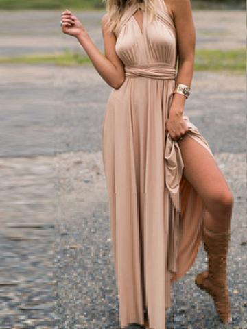 Choies Khaki Polyester V-neck Ruched Detail Open Back Party Women Maxi Dress
