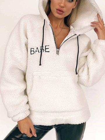 Choies White Drawstring Pouch Pocket Long Sleeve Faux Shearling Hoodie