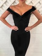 Choies Black Plunge Knot Front Bodycon Dress