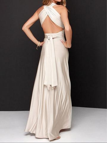 Choies Silver Polyester V-neck Open Back Cocktail Women Maxi Dress