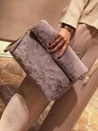 Choies Gray Faux Fur Foldover Handbag
