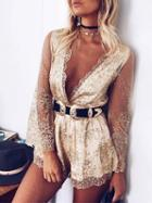 Choies Golden Plunge Neck Sparkle Sheer Sleeve Mesh Overlay Romper