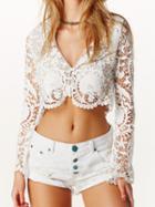 Choies White V-neck Crochet Lace Button Front Crop Top
