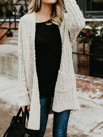 Choies Beige Open Front Pocket Detail Long Sleeve Chic Women Knit Cardigan