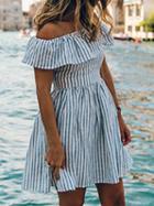 Choies Blue Stripe Off Shoulder Ruffle Open Back Skater Dress