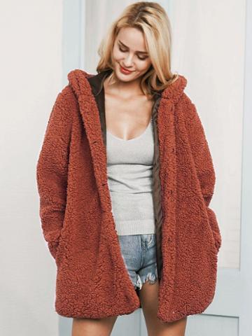 Choies Dark Camel Faux Shearling Hooded Coat