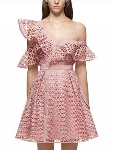 Choies Pink Cutwork Lace Asymmetric Frill Skater Dress