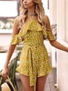 Choies Yellow Polka Dot Print Tie Waist Frilltrim Chic Women Playsuit
