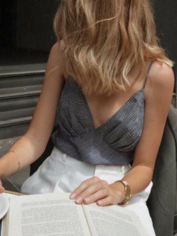 Choies Black Plaid Cotton V-neck Women Crop Cami Top