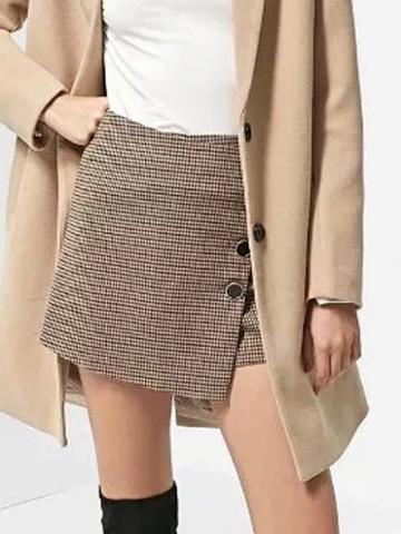 Choies Brown Plaid Button Embellished Skort
