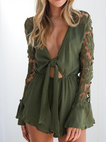 Choies Green Plunge Tie Front Lace Panel Ruffle Hem Romper Playsuit