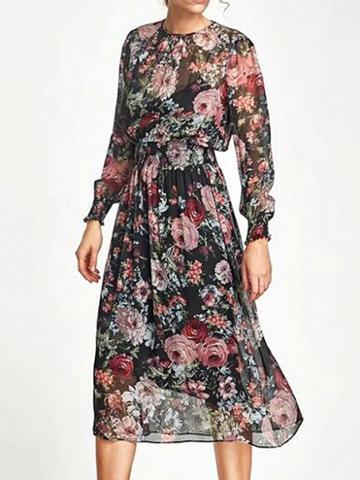 Choies Polychrome Floral Print Long Sleeve Dress And Cami Lining