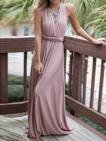 Choies Purple Polyester V-neck Ruched Detail Open Back Party Women Maxi Dress