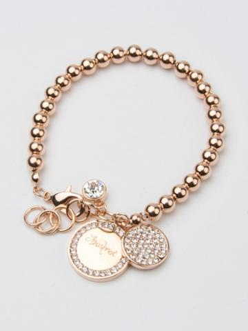 Choies Rose Gold Crystal Embellished Disc Charm Ball Chain Bracelet