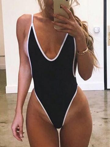 Choies Black Open Back Swimsuit