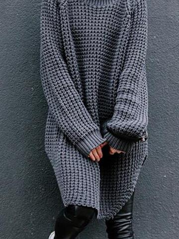 Choies Gray High Neck Chunky Longline Sweater