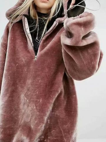 Choies Burgundy Zip Front Long Sleeve Women Velvet Hoodie