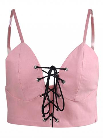 Choies Pink Spaghetti Strap Lace Up Front Crop Tank Top