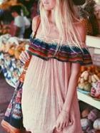 Choies Pink Off Shoulder Stripe Ruffle Mini Dress
