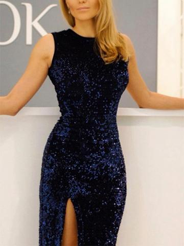 Choies Dark Blue Sequin Detail Thigh Split Side Dress