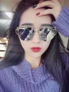 Choies Silver Lens Double Brow Bar Oversized Mirrored Sunglasses