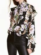 Choies Polychrome Floral Ruffle Trim Long Sleeve Shirt