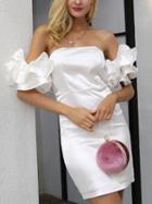 Choies White Off Shoulder Ruffle Trim Bodycon Mini Dress