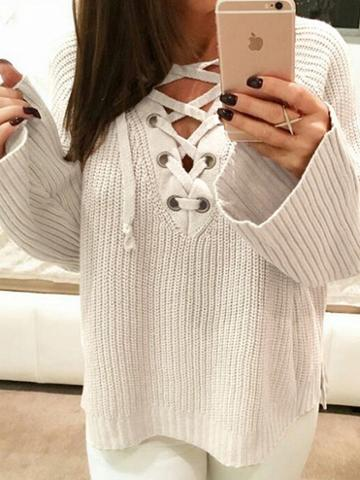 Choies White V-neck Eyelet Lace Up Front Long Sleeve Chic Women Knit Sweater