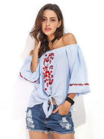 Choies Blue Off Shoulder Embroidery Puff Sleeve Top