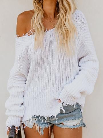 Choies White V-neck Tassel Trim Long Sleeve Chic Women Knit Crop Sweater