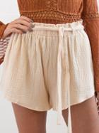 Choies Beige Textured Tie Belt Culotte Shorts
