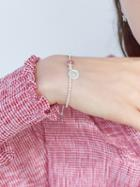 Choies Silver Crystal And Coin Pendant Pearl Embellished Bracelet